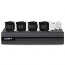 Sistem supraveghere exterior basic Dahua DH-B4EXT80-2MP-M, 4 camere, 2 MP, IR 80 m, microfon incorporat