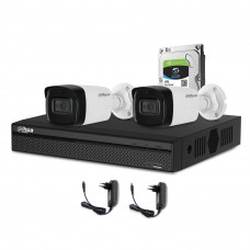 Sistem supraveghere exterior complet Dahua DH-C2EXT80-5MP-M, 2 camere, 5 MP, IR 80 m, microfon incorporat