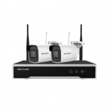 Sistem supraveghere exterior WiFi Hikvision HK-2IPEXT4MP, 2 camere IP, 4 MP, IR 30 m