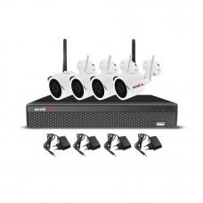 RESIGILAT - Sistem supraveghere IP exterior wireless Acvil KIT 4 WIFI-2MP-30, 3 camere IP, 2 MP, IR 25 m