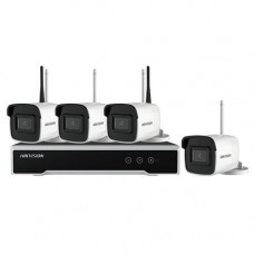Sistem supraveghere exterior wireless Hikvision KIT NK44W0H-1T(WD), 4 camere IP, 4 MP, IR 30 m