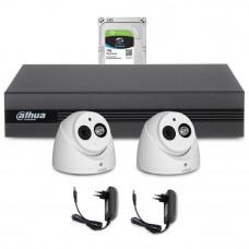 Sistem supraveghere interior complet Dahua DH-C2INT50-2MP-M, 2 camere, 2 MP, IR 50 m, microfon incorporat