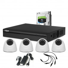 Sistem supraveghere interior complet Dahua DH-C4INT20-4MP, 4 camere, 4 MP, IR 20 m