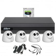 Sistem supraveghere interior complet Dahua DH-C4INT50-2MP-M, 4 camere, 2 MP, IR 50 m, microfon incorporat