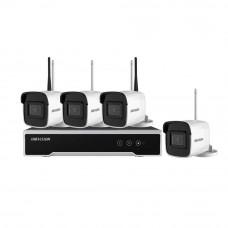 Sistem supraveghere IP exterior WiFi Hikvision HK-4IPEXT4MP, 4 camere IP, 4 MP, IR 30 m
